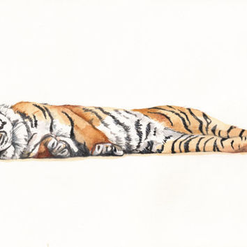 Tiger Painting T071 print of watercolor painting by Splodgepodge