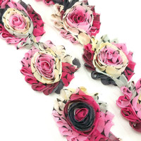 Pink cream large polka dot shabby rose trim - Shabby flower trim  - Shabby flowers by the yard - Shabby chiffon rosettes - Wholesale