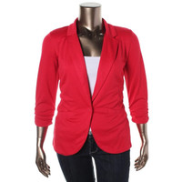 Style & Co. Womens Ponte Ruched Casual Blazer