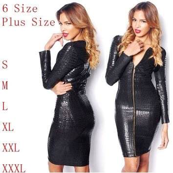 Plus Size Sexy Black Snake Skin Faux Leather Bandage Pencil Dresses Summer New 2014 Long Sleeve Front Zipper Party Women's Midi Dress = 1932728900