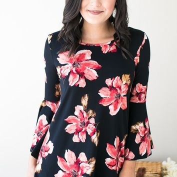 True Meaning Of Floral Bell Sleeve Tunic