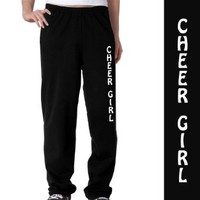 Cheer Girl Fleece Sweatpants Youth Small on Black