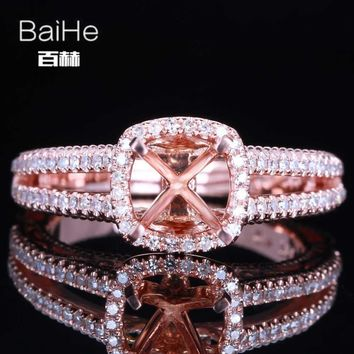 BAIHE Solid 14K Rose Gold Certified Round Cut Engagement Women Cute/Romantic Fine Jewelry Elegant unique Semi Mount Gift Ring