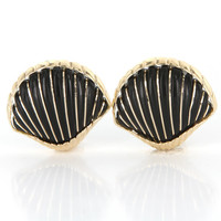 Vintage 14 Karat Yellow Gold Onyx Large Shell Cocktail Earrings Estate Jewelry