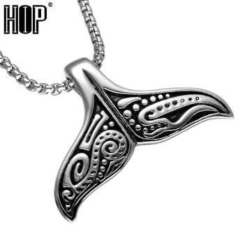 HIP Mens Whale Tail Fish Charm Necklace Punk Supernatural 316L Stainless Steel Mermaid Necklace For Men Jewelry