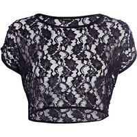 River Island Womens Navy lace sequin embellished crop top