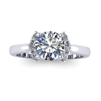 Engagement Ring, Sapphire Ring, 14K White Gold, White Sapphire, Promise Ring RE00142