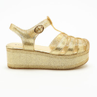 GOLD JELLY PLATFORM SANDALS