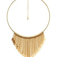 Gold Metal Fringe Statement Choker Necklace by Charlotte Russe