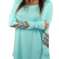 Blue Long Sleeve Sequined Detail T-shirt