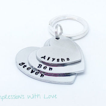 Hand stamped keyring | keychain | stacked hearts | Mother's Day | gift for her | personalised | name keyring | parent keepsake