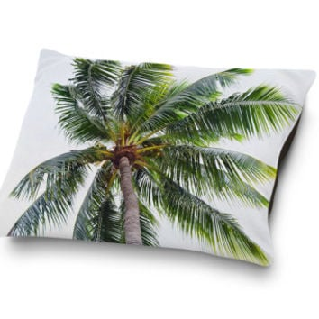 Caribbean Palm - Pet Bed, Green Palm Tree Beach Style Pet Bedding, Cat and Dog Sleep Accessory Pet Pillow Bed Decor. In Small Medium Large