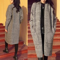 Women's Clothing Spring Autumn Winter Single Breasted Cashmere Knitted Long Cardigans Sweaters Coat