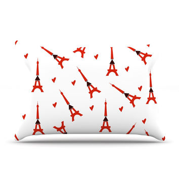 "Louise ""Paris"" White Red Pillow Case"