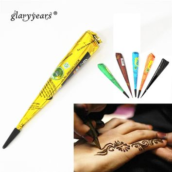 1 Piece Black Color Indian Henna Paste Cone Beauty Women Mehndi Finger Body Cream Paint DIY Temporary Drawing for Tattoo Stencil