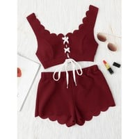 Lace Up Front Scalloped Trim Crop Top & Shorts PJ Set BURGUNDY