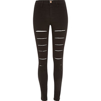 River Island Womens Black ripped stripe Molly jeggings