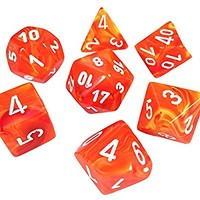 Custom & Unique {Standard Medium} 7 Ct Pack Set of D4, D6, D8, D10, D12, D20] Assorted Polyhedral Shapes Playing & Game Dice w/ Simple Classy Gloss Element Burning Fire Design [Orange, White & Yellow]