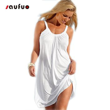 women summer loose white beach dress off shoulder sleeveless sundress midi plus size sun see through mini bodycon hippie v1935