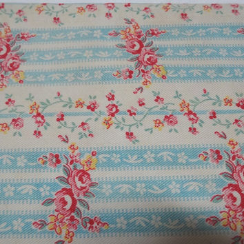 1940s Vintage Cotton Twill Small Pillowcase for Upcycle Supply, Red Roses, Blue Stripes, Vintage Fabric, Home Sewing Fabric, Quilt Repair