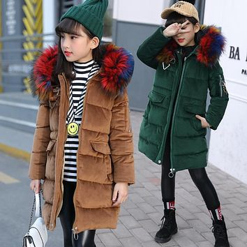New Fashion Girls Coat Winter Warm Jackets Fur Hooded Colors Kids Thick Solid Coat Cotton Outwear