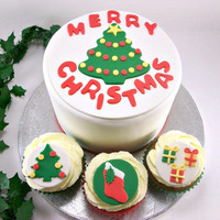 Christmas Party Package - One 6 Inch Christmas Fondant Cake Topper and 12 Christmas Cupcake Fondant Toppers, Tree, Gifts, Stocking