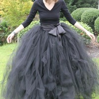 Black adult tutu, long black skirt, sewn tutus, Wide Satin sash, Wedding tutu, Prom dress