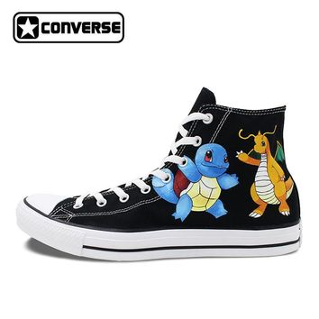 Shoes Man Woman Converse All Star Pokemon Go Squirtle Dragonite Design Custom Hand Painted Shoes Men Women Sneakers CosPlay