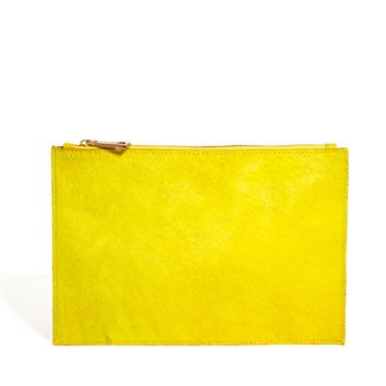 ASOS Leather Clutch Bag In Pony