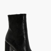 Shelley Snake Detail Pointed Shoe Boot | Boohoo