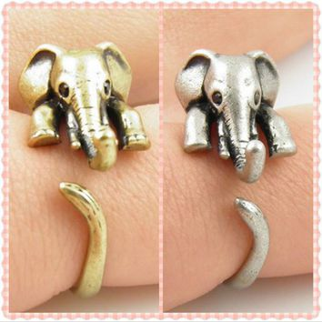 Lovely Elephant Ring Adjustable Size  - Free Shipping