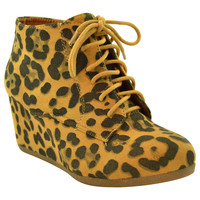 Womens Ankle Boots Lace Up Faux Suede Wedge Shoes Brown