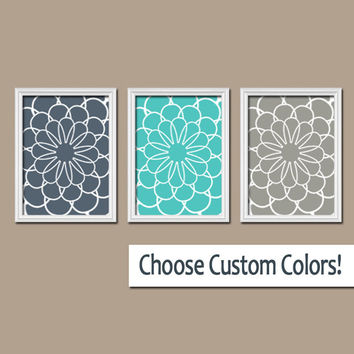 Flowers Dahlia Flourish Floral Navy Turquoise Gray Tones Pattern Artwork Set of 3 Trio Prints Bedroom Bathroom WALL Decor Abstract ART