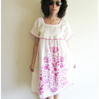 Vintage Semi Sheer White and Pink Flower Embroidered South American Mexican Peasant Hippy Boho Dress