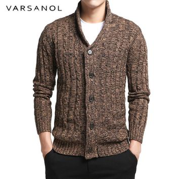 Men's Sweater 100% Cotton Long Sleeve Cardigan V-Neck Button Fit Knitting Casual Style