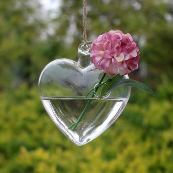 Clear Heart Shape Glass Hanging Vase Bottle Terrarium Container Plant Flower DIY Table Wedding Decor