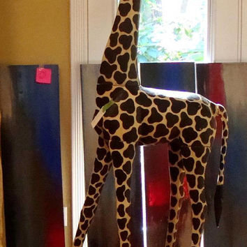 Vintage-Life-Size-Hand-Carved-Wood-Baby-Giraffe