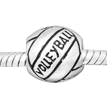 European Charm Metal Bead Volleyball