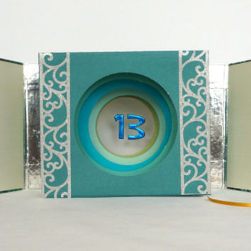 Happy 13th Birthday TUNNEL BOOK CARD Gift ORIGiNAL DESiGN CUSToM ORDeR Handmade in Green Blue Shades & Silver w/Hard Cover Binding  OOaK
