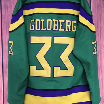 EJ Mighty Ducks Movie Jersey #33 Greg Goldberg Hockey Jersey Stitched All Sewn GREEN