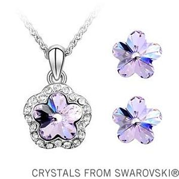 4 Colors Plum Flower Pendant Necklace Earrings Jewelry Set Made With Swarovski Elements Jewelry For Women
