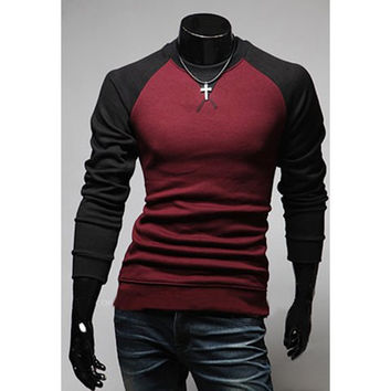 Color Block Long Sleeves T-Shirt