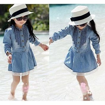 2-8Y Girl Kids Lovely Denim Blue Beautiful Lace Cowboy O-Neck Clothes Long Sleeve Dress