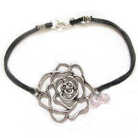 Rose Wire Wrapped Bracelet Black Leather Suede by JSCJewelry