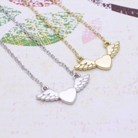 Heart Angel Wing necklace in  silver or gold tone