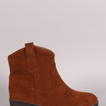Qupid Vegan Suede Western Cowgirl Ankle Boots