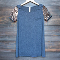 navy tshirt tunic with short sequin sleeves