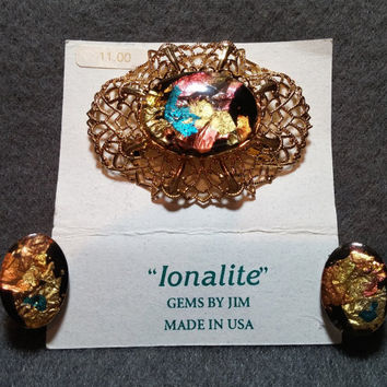 Ionalite Faux Opal Demi, Brooch Pin and Clip Earrings, Lacy Goldtone Setting w/ Precious Metal Foils in Resin, Black Hills, USA