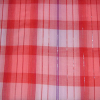 Modern Retro Red Plaid Fabric with Purple Stripe & Silver Metallic Threads - 4 YARDS, 6 INCHES
