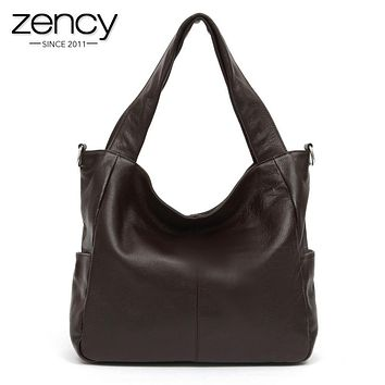 3 Size Casual NEW Fashion Big Bags Ladies Large 100% Genuine Leather Women's Shoulder Handbag Bucket diagonal Purse Satchel